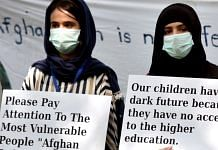 Representational image. | Afghan Refugee Women Association members hold placards during a protest at Jantar Mantar, in New Delhi on 16 August. | Photo: ANI