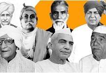 (Top row, left to right) Sir Chhotu Ram, Maharaja Suraj Mal, Raja Mahendra Pratap Singh, Chaudhary Devi Lal; (Bottom row. left to right) Ranbir Singh Hooda, Chaudhary Charan Singh, Mahendra Singh Tikait   Image: Soham Sen   ThePrint