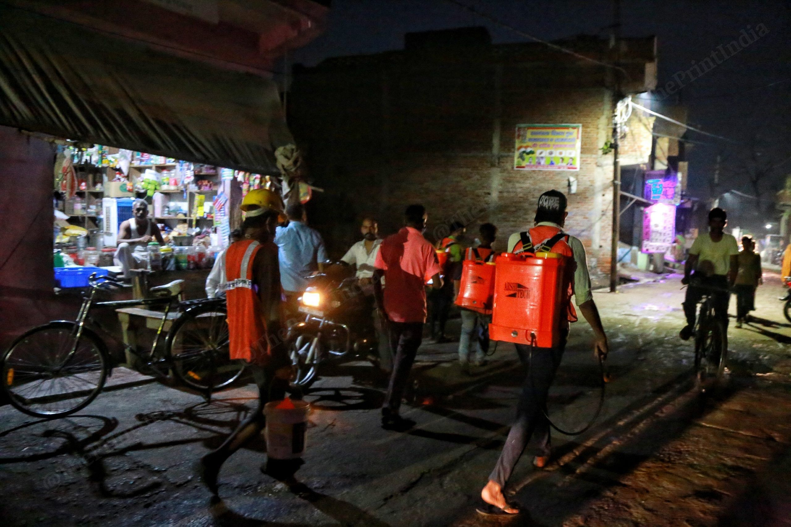 A fumigation drive underway in one of the worst-affected pockets of Firozabad   Manisha Mondal   ThePrint