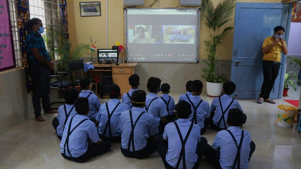 A few of the rescued children attend an online class at a shelter home | Photo: Manisha Mondal | ThePrint