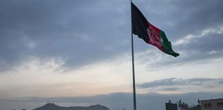 An Afghan flag flying on a hilltop in Kabul   File photo: Victor J. Blue   Bloomberg