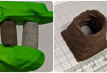Moon and Mars biocomposites; (right) 3-D printed Mars composite | University of Manchester website