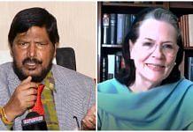 Union Minister Ramdas Athawale (L) and Congress interim president Sonia Gandhi (R)