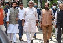 Union Ministers Bhupendra Yadav, Mukhtar Abbas Naqvi, and Anurag Thakur come out after meeting Election Commission, in New Delhi on 28 September 2021| PTI