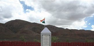 Rezang La War Memorial, located a few kilometers outside the town of Chushul. | Photo credit: Tiwtter/@NMANEWDELHI
