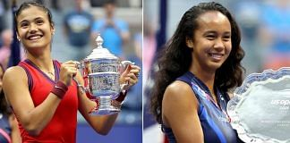 US Open women's singles champion Emma Raducanu (left) and runner-up Leylah Fernandez with their respective trophies | Photo: Twitter | @USOpen
