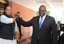 Defence Minister Rajnath Singh with his American counterpart Lloyd Austin in New Delhi, on 20 March 2021 (file photo)   Twitter/@rajnathsingh
