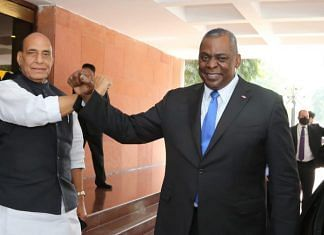 Defence Minister Rajnath Singh with his American counterpart Lloyd Austin in New Delhi, on 20 March 2021 (file photo) | Twitter/@rajnathsingh