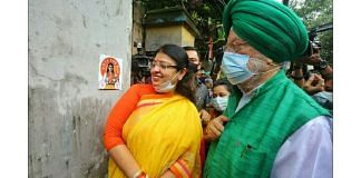 BJP's Bhabanipur bypoll candidate Priyanka Tibrewal (left) with Union minister Hardeep Singh Puri at a campaign event | Photo: Praveen Jain | ThePrint