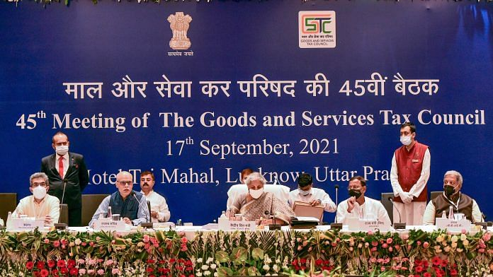 Finance Minister Nirmala Sitharaman chairs the 45th GST Council meeting in Lucknow, on 17 September 2021