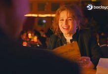 Screenshot of the Barclaycard ad featuring British actor Helena Bonham Carter