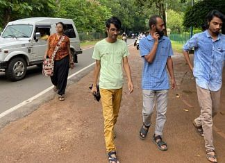 Students at the Visva-Bharati campus. Phalguni Pan (student with beard) is among 3 students who were expelled by the university in August but reinstated by the Calcutta High Court | Madhuparna Das | ThePrint