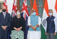 (From left) Australia's Defence Minister Peter Dutton, the country's Foreign Minister Marise Payne with Defence Minister Rajnath and External Affairs Minister S. Jaishankar in New Delhi Saturday   Photo: Twitter/@rajnathsingh