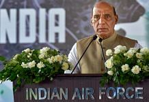 Union Defence Minister Rajnath Singh speaks during the induction of a medium-range surface-to-air missile system (MRSAM), in Jaisalmer on 9 September 2021| PTI