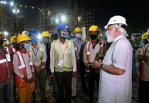 PM Narendra Modi inspects construction work of the new Parliament building in New Delhi, on 26 September 2021   PTI