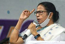 West Bengal Chief Minister Mamata Banerjee addressing a public gathering at Chakraberia in Bhabanipur, Kolkata, Saturday | Photo: Praveen Jain | ThePrint