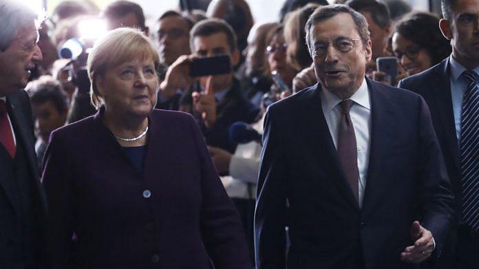 German Chancellor Angela Merkel with Italian Prime Minister Mario Draghi (file photo)   Bloomberg