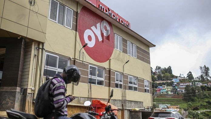OYO rooms logo displayed outside a hotel in Ooty, Tamil Nadu | Photographer: Dhiraj Singh | Bloomberg