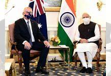 Prime Minister Narendra Modi with Australian PM Scott Morrison during a meeting on 23 September 2021| PTI