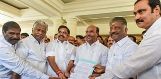 File photo of former Tamil Nadu CM Edappadi K Palaniswami, former Deputy CM O Panneerselvam and senior leaders of AIADMK and PMK showing a signed copy of the alliance agreement for the 2019 polls. | R Senthil Kumar/PTI