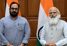 File photo of Rajeev Chandrasekhar with Prime Minister Narendra Modi in New Delhi in July 2021 | ANI