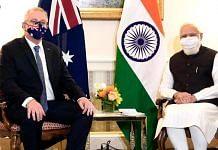 Australian PM Scott Morrison with PM Narendra Modi at the Quad summit in Washington DC in September 2021 | PMO India | Twitter