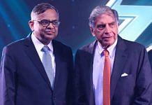 Ratan Tata, chairman of Tata Group (R), and Natarajan Chandrasekaran, chairman of Tata Sons during the launch of the Tata Nexon EV electric car, in Mumbai on 28 January 2020. Photographer: Indranil Mukherjee/AFP/Getty Images via Bloomberg