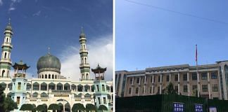 The Dongguan mosque before construction (left) and after renovation (right)   Twitter and tripadvisor.in