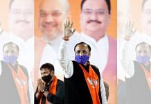 Vijay Rupani waves to supporters after BJP wins civic body election, in Ahmedabad in February 2021. Rupani resigned as Gujarat CM on 11 September 2021 | ANI