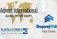 Logos of Advent International, Eureka Forbes and Shapoorji Pallonji Group | Commons