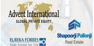Logos of Advent International, Eureka Forbes and Shapoorji Pallonji Group   Commons