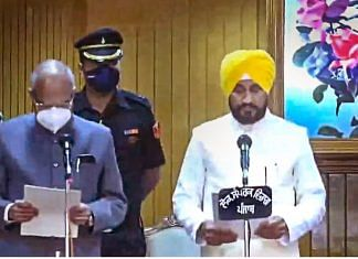 Congress leader Charanjit Singh Channi takes oath as Chief Minister of Punjab, at Raj Bhawan in Chandigarh on 20 September 2021| PTI