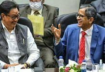 Law Minister Kiren rijiju with Chief justice of India N. V. Ramana during an event organised by the Bar Council of India | Praveen Jain | ThePrint
