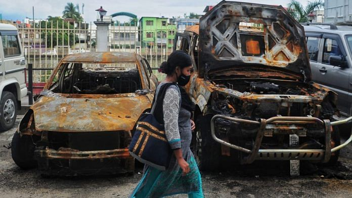 Vehicles that were burnt at the CPI (M) state headquarters in Agartala on 8 September | Photo: Suraj Singh Bisht/ThePrint
