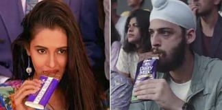 Screengrabs from Cadbury Dairy Milk's 1993 ad (left) and the new one