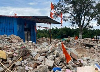 A makeshift tin temple has been built at the spot where the old temple stood in Huchchaganivillage | Photo: Anusha Ravi Sood/ThePrint
