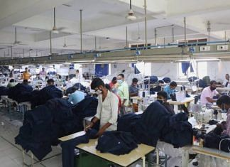 File photo of workers in a textile factory | Manisha Mondal| ThePrint