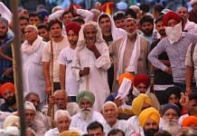 Farmers gathered outside the mini secretariat in Karnal   Photo: Suraj Singh Bisht   ThePrint