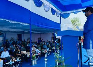 Road Transport and Highways Minister Nitin Gadkari gives a speech after the inauguration of emergency landing strip in Barmer, Rajasthan on 9 September 2021