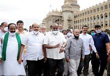A file photo of former Chief Minister H.D. Kumaraswamy (centre) with JD(S) state president H.K. Kumaraswamy and party MLAs and MLCs, in Bengaluru. | Photo: ANI