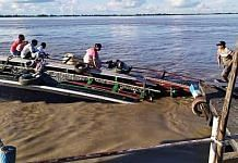 A capsized boat on the Brahmaputra river in Jorhat district of Assam, on 8 September 2021