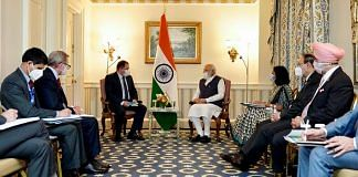 PM Narendra Modi holds a meeting with President and CEO of Qualcomm Cristiano R Amon in Washington DC, on 23 September 2021 | ANI photo