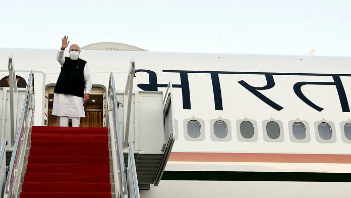 Prime Minister Narendra Modi while departing for New York for addressing at the 76th session of UNGA, in Washington DC Friday.   Photo: ANI