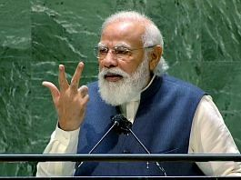 Prime Minister Narendra Modi addresses the 76th Session of the United Nations General Assembly, in New York Saturday.   Photo: ANI