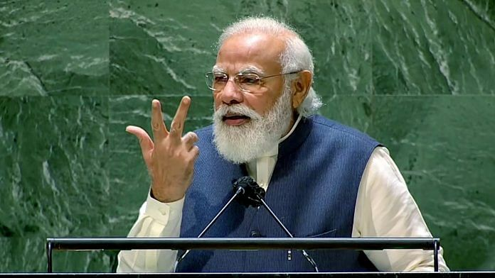 Prime Minister Narendra Modi addresses the 76th Session of the United Nations General Assembly, in New York Saturday. | Photo: ANI