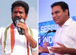 File photos of Telangana Congress chief Revanth Reddy (L) and state minister K.T. Rama Rao | Twitter & Commons