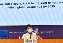 Union Minister for Civil Aviation Jyotiraditya Scindia during a press briefing on announcements of PLI scheme for drones and drone components in New Delhi, on 16 September 2021 | PTI Photo