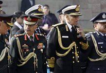 Representative image | From left to right: File photo of Chief of Defence Staff Bipin Rawat, Army chief Manoj Mukund Naravane, Navy chief Karambir Singh and Air Marshal RKS Bhadauria | Photo: Praveen Jain | ThePrint