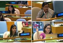(Clockwise) Indian diplomats Sneha Dubey, Vidisha Maitra, Paulomi Tripathi and Eenam Gambhir, speaking at the United Nations. | Photo: Twitter