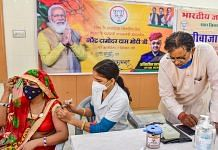 A woman receives Covid vaccine at a special camp on the occasion of Prime Minister Narendra Modi's birthday in Bikaner on, 17 September 2021